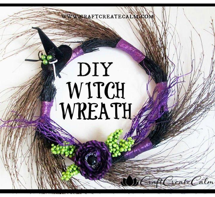 diy witch wreath decoration, crafts, halloween decorations, seasonal holiday decor, wreaths
