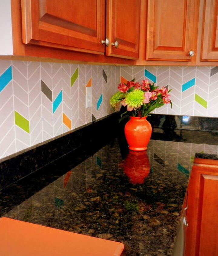 s 13 incredible kitchen backsplash ideas that aren t tile, kitchen backsplash, kitchen design, Paint on a colorful chevron pattern