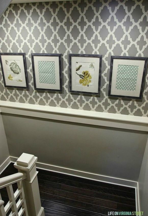 s if your stairway walls are empty here s what you re missing, wall decor, A statement wall with two toned stencils
