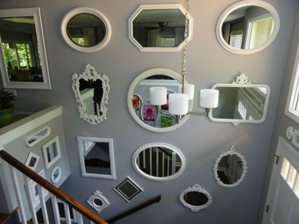 A gallery of different shaped mirrors