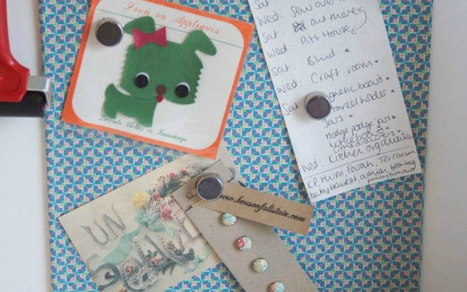 s don t throw out that old cookie sheet before you see these ideas, repurposing upcycling, Add fabric for a stylish magnetic board