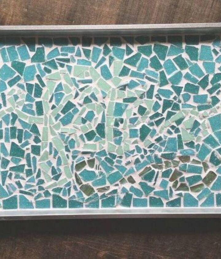 s don t throw out that old cookie sheet before you see these ideas, repurposing upcycling, Glue on mosaic for a colorful serving tray