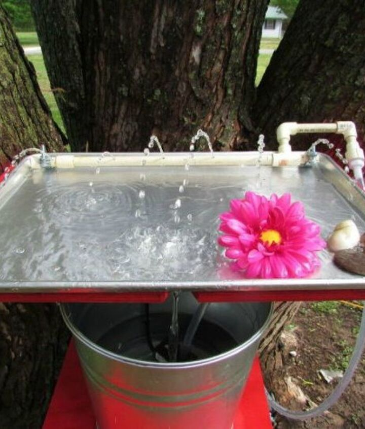 s don t throw out that old cookie sheet before you see these ideas, repurposing upcycling, Turn it into a bird bath for hummingbirds