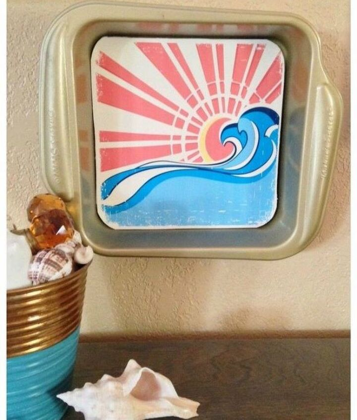 s don t throw out that old cookie sheet before you see these ideas, repurposing upcycling, Turn it into beach wall art