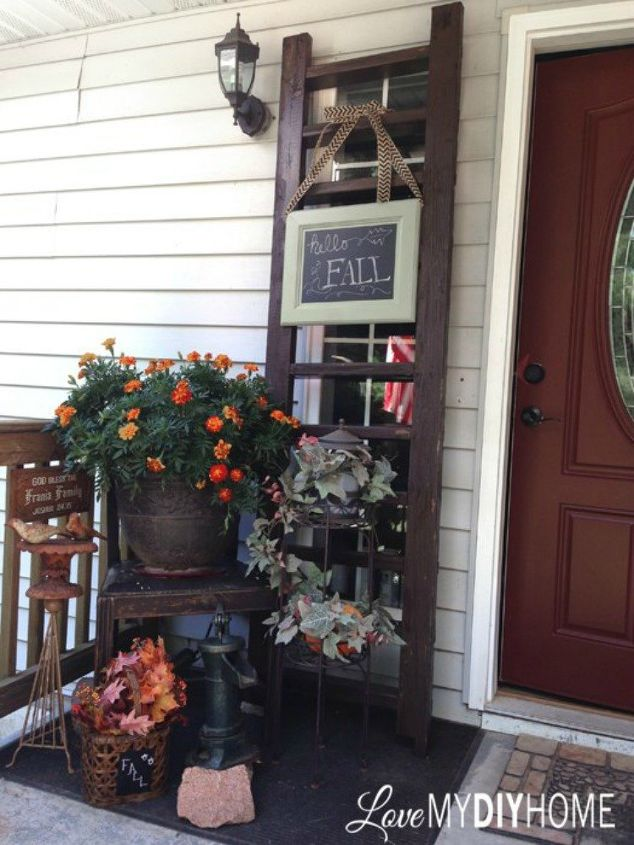 s these 17 fall porch ideas will give you that yummy warm feeling, porches, This welcome fall porch sign on a ladder