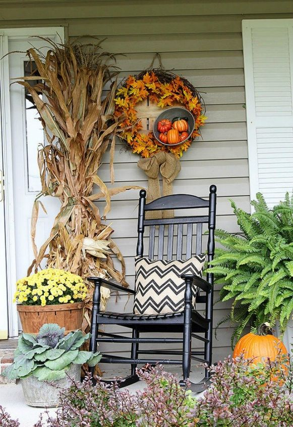 s these 17 fall porch ideas will give you that yummy warm feeling, porches, The dried and tall cornstalks on the door