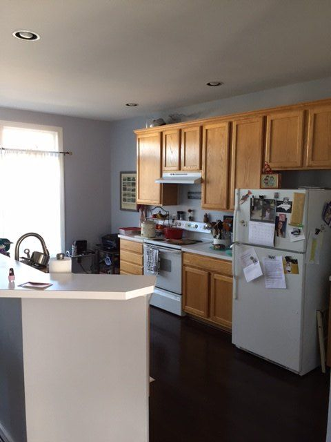 q what color to paint kitchen cabinets, kitchen cabinets, kitchen design, paint colors, painting, painting cabinets, blue grey walls with a dark hardwood floor