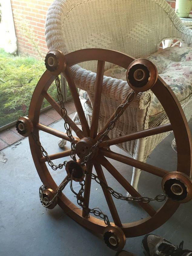 q wood wheel old light fixture, repurpose furniture, repurposing upcycling