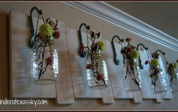hanging mason jars wall art, crafts, mason jars, woodworking projects