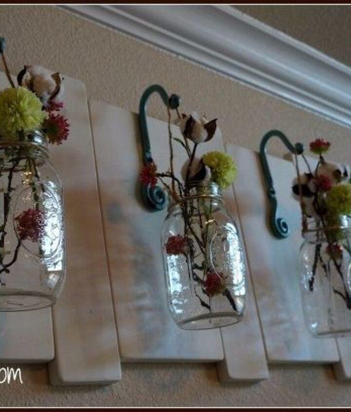 hanging mason jars wall art, crafts, mason jars, woodworking projects