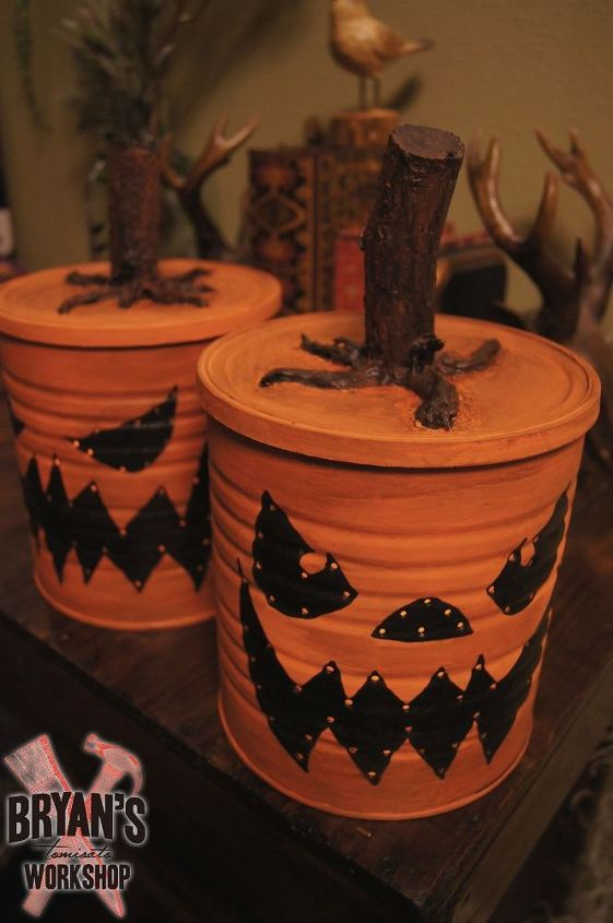 coffee can jack o lanterns with lights , crafts, halloween decorations, how to, seasonal holiday decor