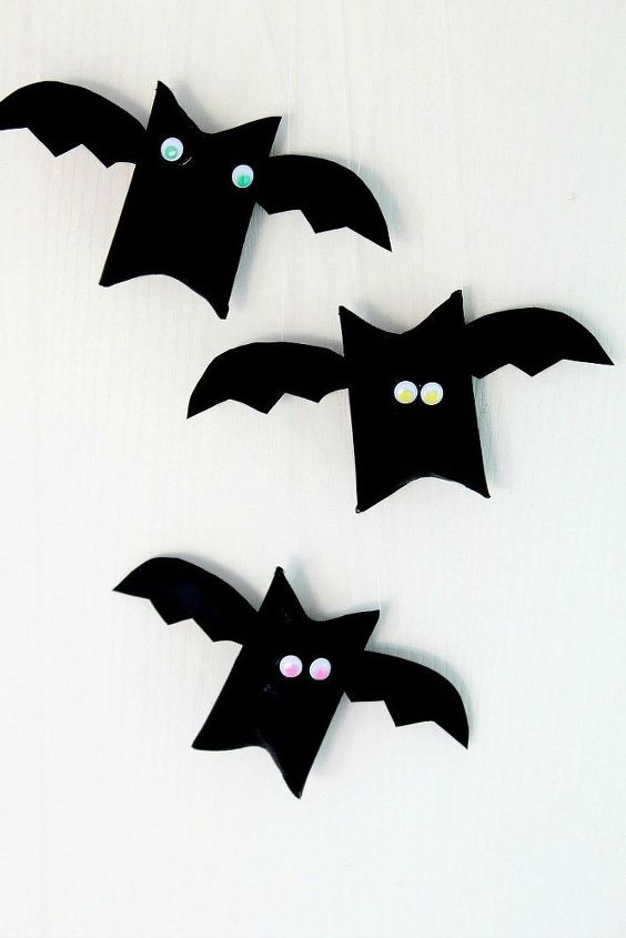 halloween bat toilet paper roll craft, bathroom ideas, crafts, halloween decorations, painting, repurposing upcycling, seasonal holiday decor