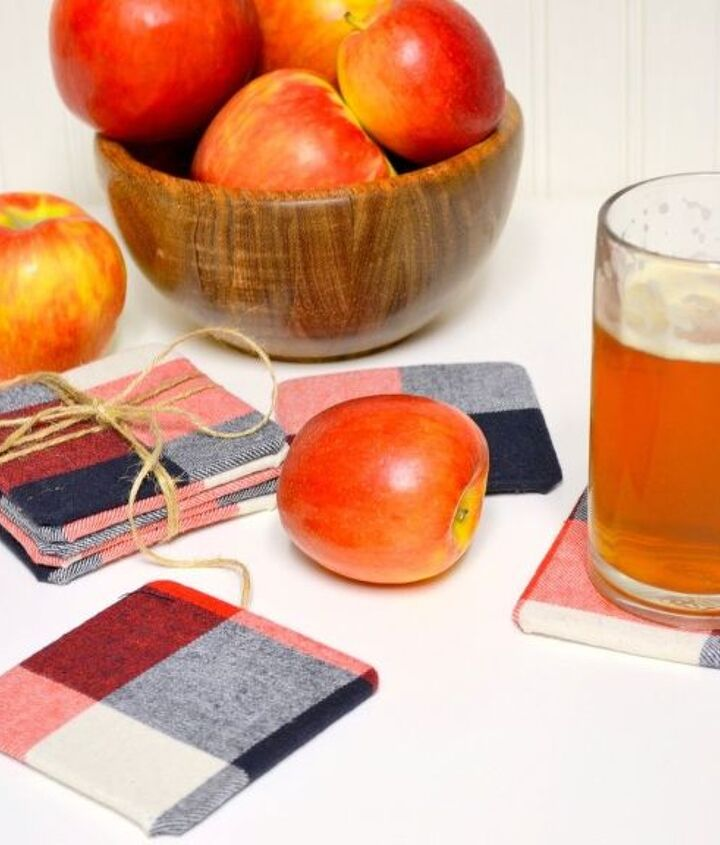 diy fall flannel coasters, crafts, how to, seasonal holiday decor, reupholster