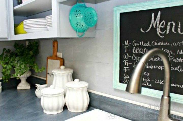 s 11 gorgeous ways to transform your backsplash without replacing it, kitchen backsplash, kitchen design, Stick on some sticker wood flooring