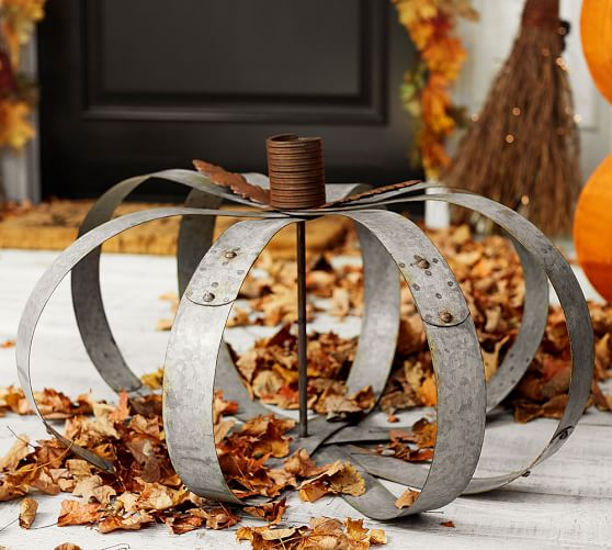 pottery barn inspired outdoor metal pumpkins, crafts, halloween decorations, how to, outdoor living, seasonal holiday decor, thanksgiving decorations