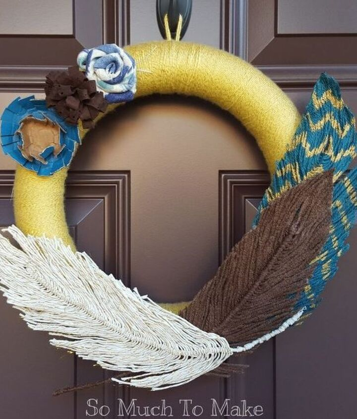 yarn feather tutorial wreath, crafts, how to, seasonal holiday decor, wreaths