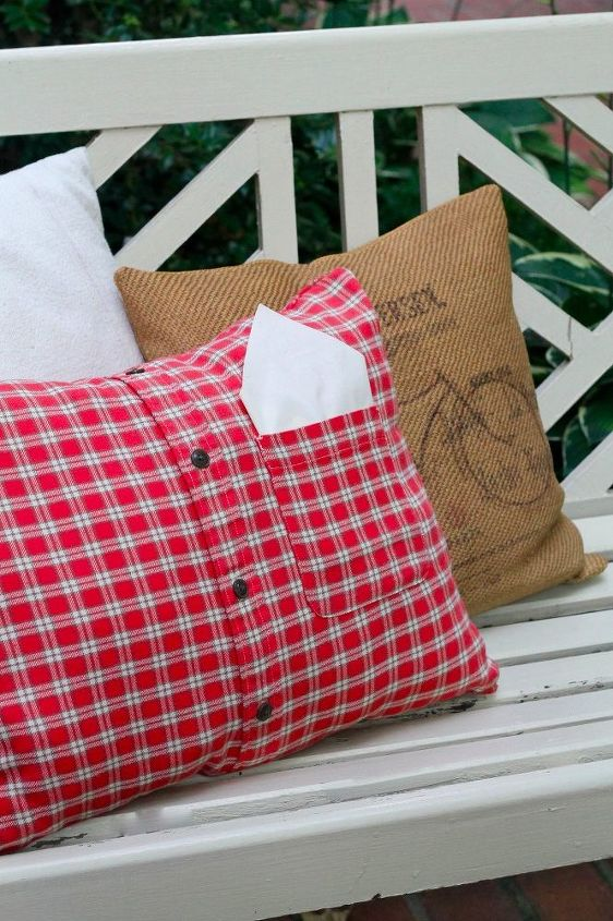 diy fall flannel shirt pillow, crafts, how to, outdoor furniture, seasonal holiday decor, reupholster