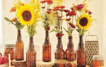 Harvest Party Tablescape With Soda Bottles, Natural Decor & Vintage