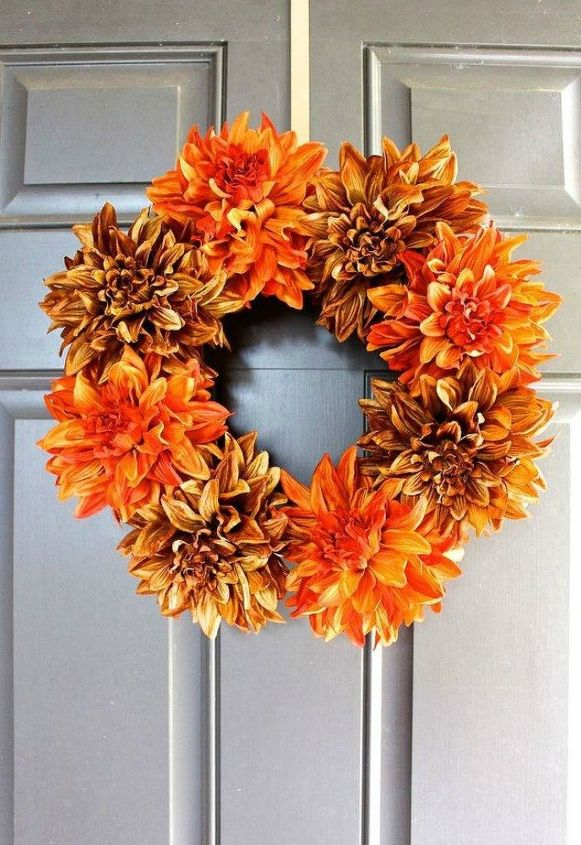 s 17 tricks to make a gorgeous wreath in half the time, crafts, wreaths, Stick flowers in a foam circle
