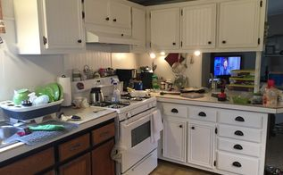 my mobile home kitchen makeover , home decor, kitchen cabinets, kitchen design, painting
