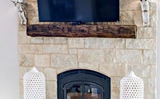 build a mantel out of an old barn beam, fireplaces mantels, outdoor living