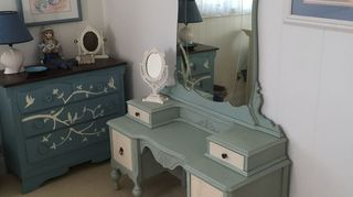 , I did a similar vanity Just need wheels and stool