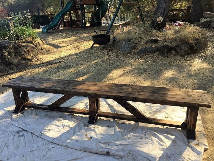 diy extra long outdoor wood bench, outdoor furniture, woodworking projects