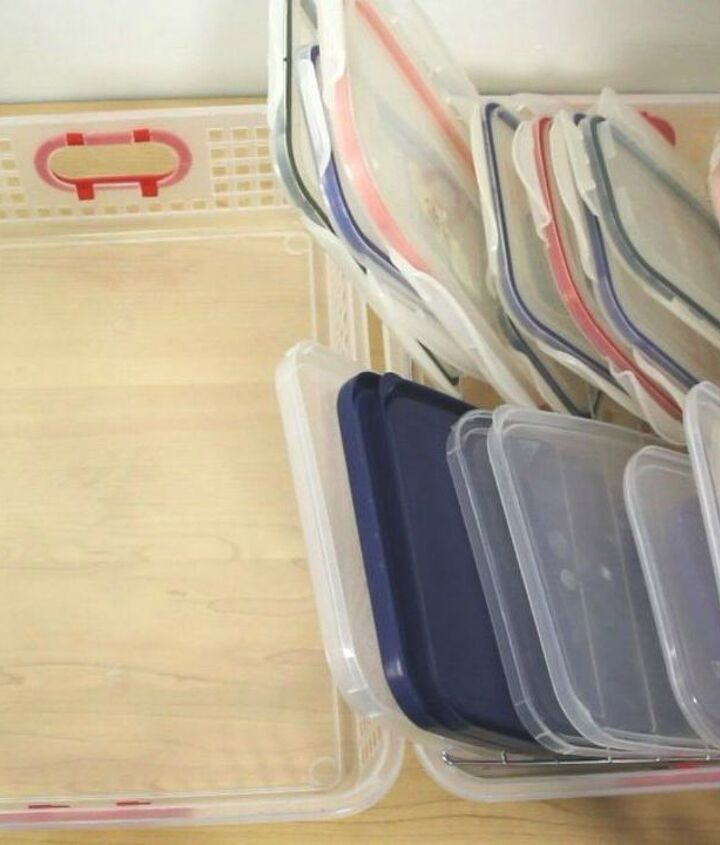 s 10 genius organizing hacks using cooling racks, organizing, Keep your plastic containers in order