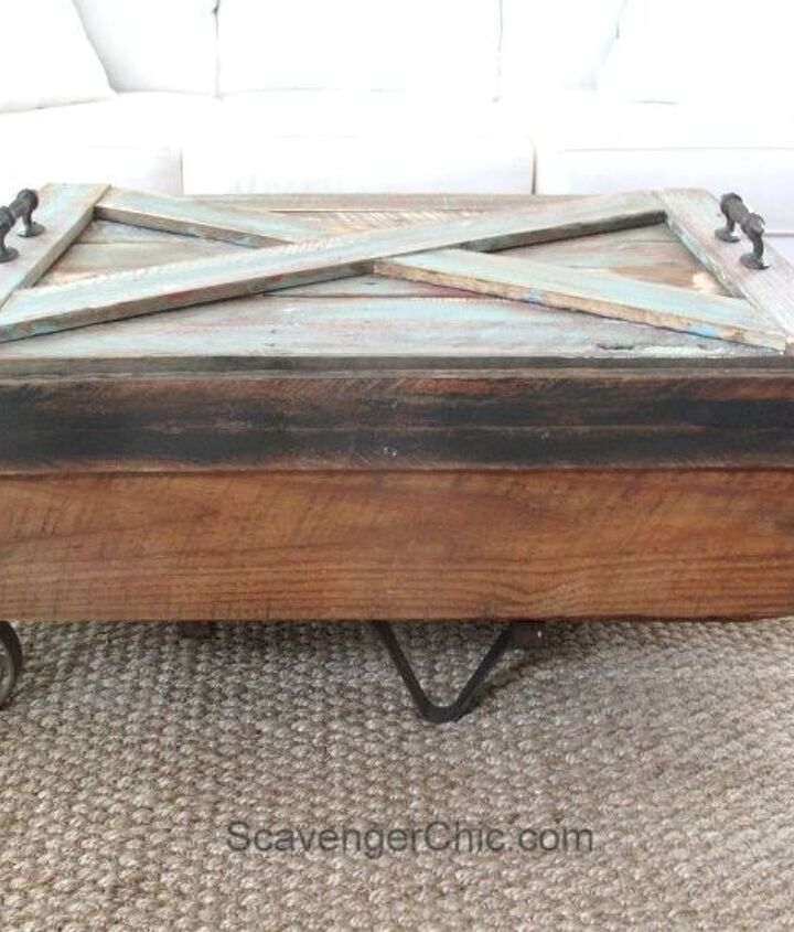 upcycled hand cart coffee table, home decor, painted furniture, pallet, repurposing upcycling, woodworking projects