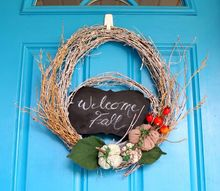 diy whitewashed twig fall wreath, crafts, seasonal holiday decor, wreaths