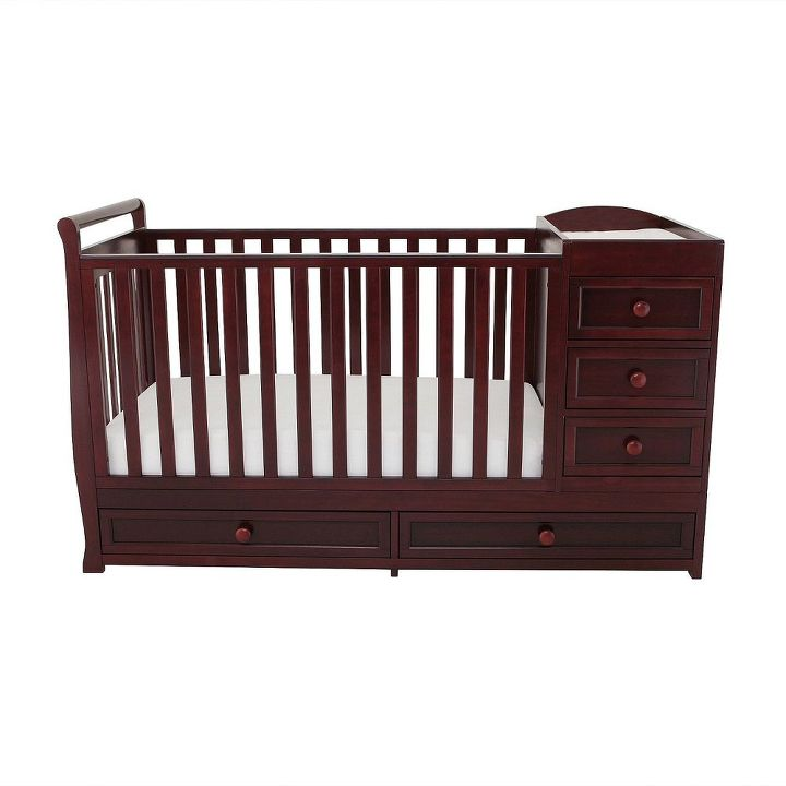 repurposed baby crib sewing table, bedroom ideas, painted furniture, Before Crib w drawers changing table