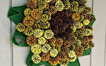painted pinecone sunflower wreath, crafts, wreaths