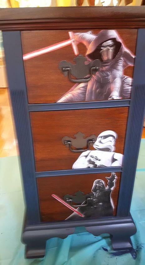 old auction desk turned into boys ultimate star wars desk, bedroom ideas, painted furniture