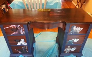 old auction desk turned into boys ultimate star wars desk, bedroom ideas, painted furniture