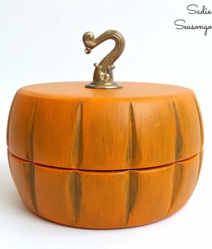autumn pumpkin trinket box from salad bowls, crafts, repurposing upcycling, seasonal holiday decor