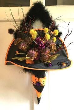 witch s hat door hanger, crafts, doors, halloween decorations