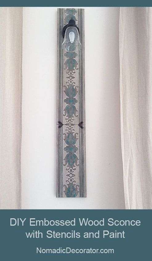 diy wood sconce with embossed stenciled design, crafts, home decor, painting