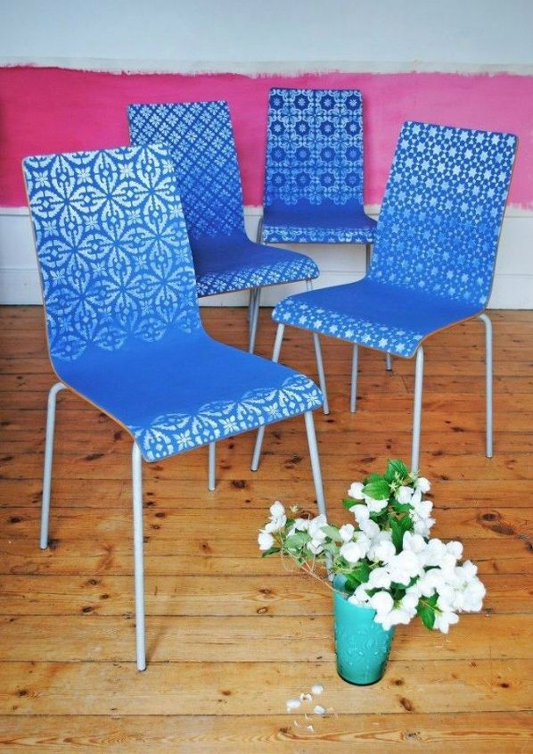 s 12 ways to revamp your dining room chairs before the holidays, Stencil them with an ombre pattern