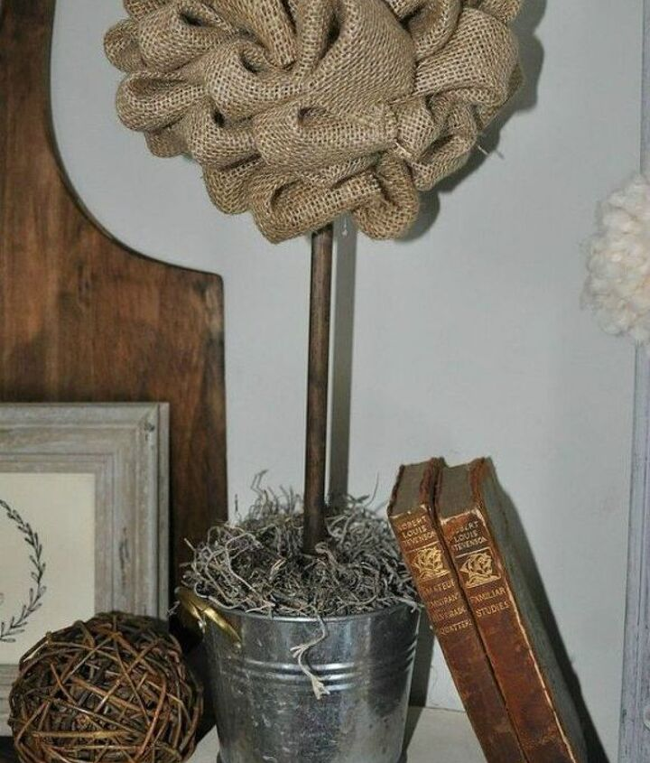 s 14 topiary techniques that are insanely popular this fall, gardening, Attaching burlap with a wooden dowel