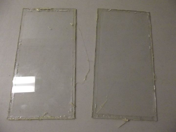Glass panes after removal from door