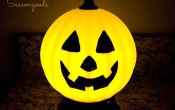 """Jack-o-Lamp: A Salvaged Light Fixture """"Pumpkin"""" for Halloween"""