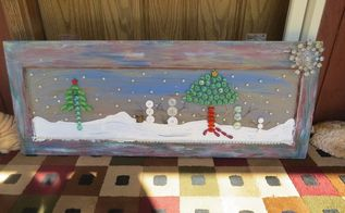 button snowmen and a ugly old window , crafts