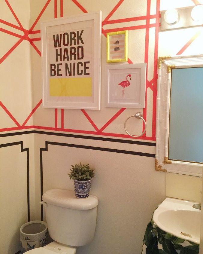 diy wallpaper hack using washi tape rental friendly , wall decor