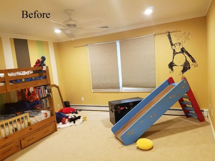 before and after an arrow stenciled boys bedroom, bedroom ideas, home decor, painting, wall decor