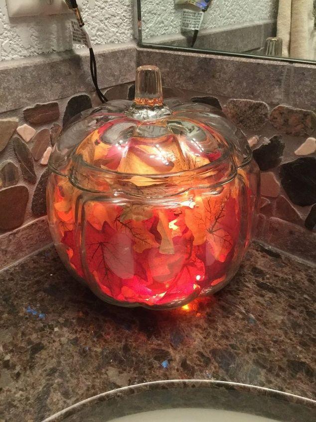 easy fall decor with a glass pumpkin jar, craft rooms, home decor, seasonal holiday decor