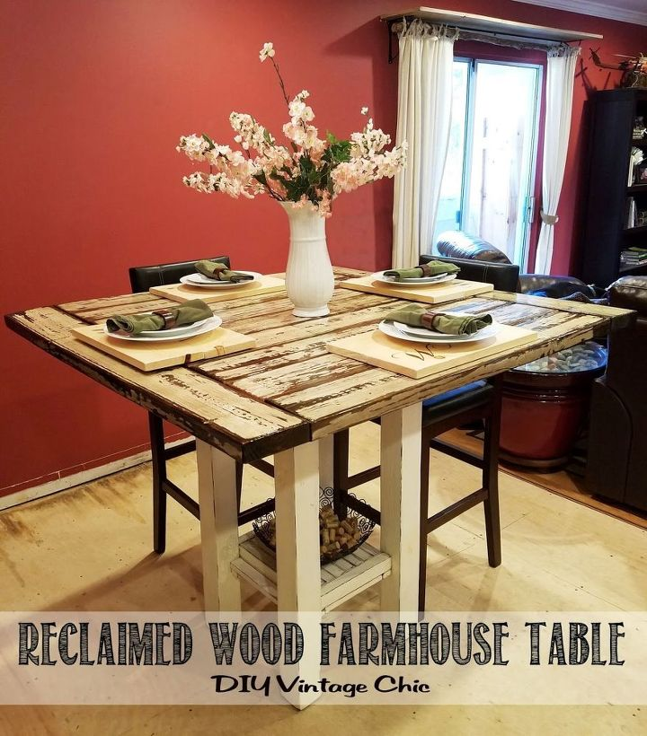 Reclaimed wood bar height farmhouse table hometalk - Bar ideas for dining room ...