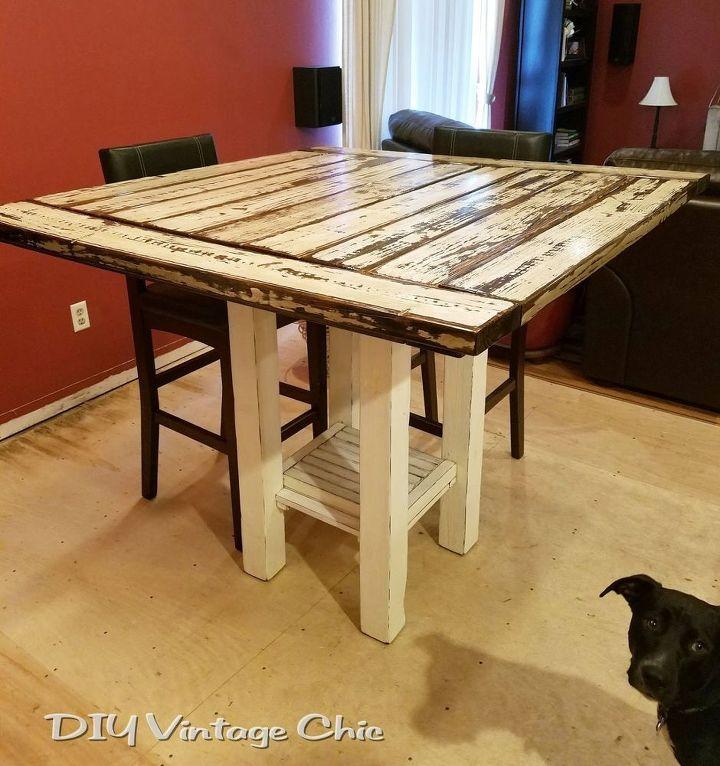 Reclaimed Wood Bar Height Farmhouse Table | Hometalk