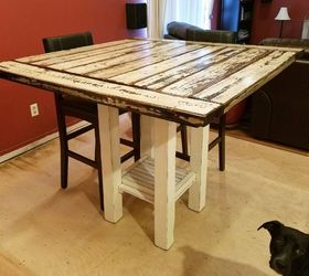 Reclaimed Wood Bar Height Farmhouse Table, Dining Room Ideas, Kitchen  Design, Painted Furniture