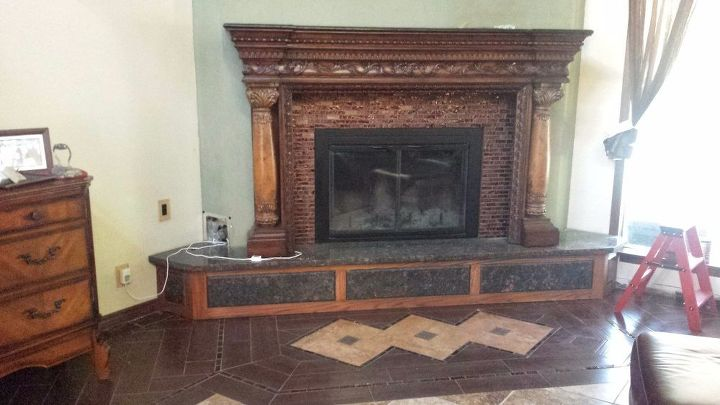 Revamp An Ugly Brick Fireplace No Paint Concrete Masonry Fireplaces Mantels