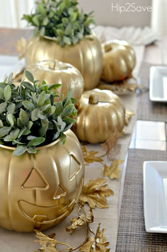 transform a dollar store pumpkin into this with spray paint, painting